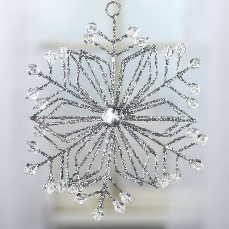 Silver Glittered Crystal Gem Snowflake Ornament ...