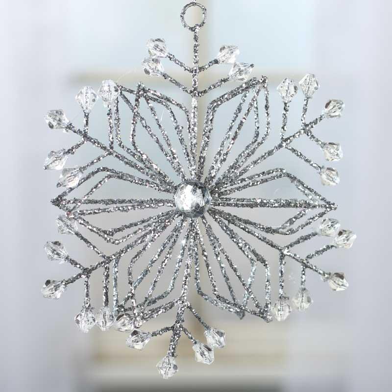 Silver glittered crystal gem snowflake ornament