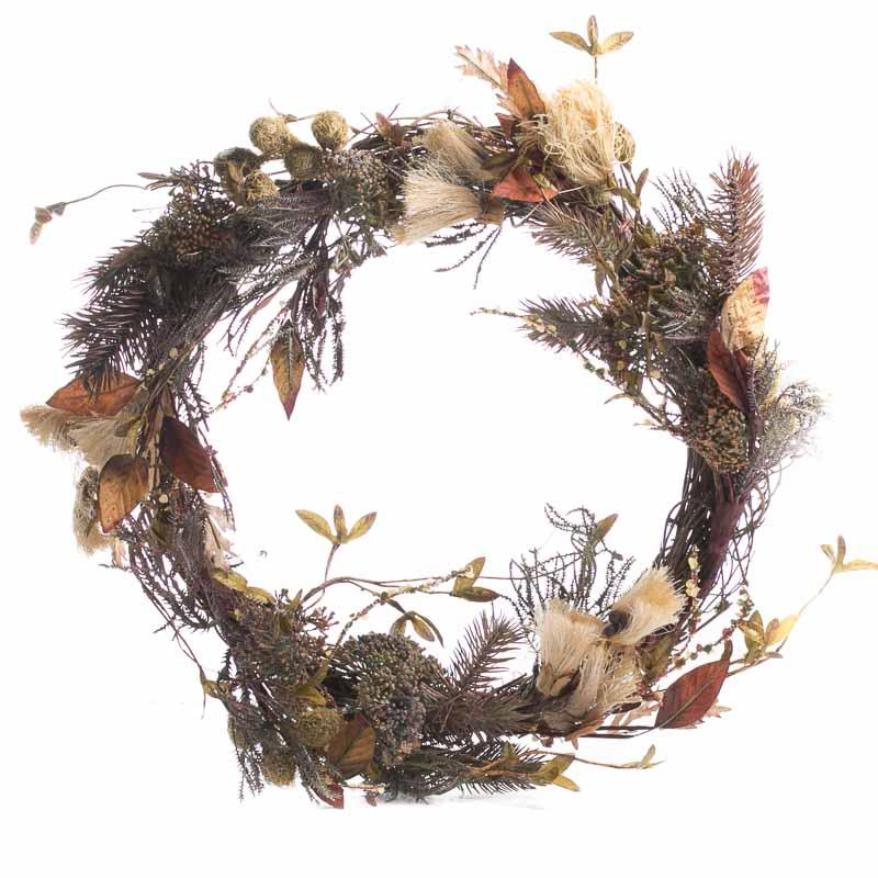 Fall Artificial Dried Grass And Leaf Wreath Wall Decor