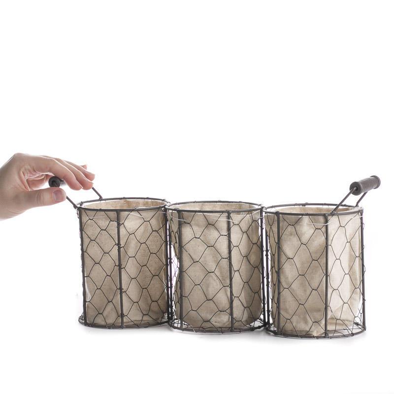 Brown Chicken Wire And Linen Storage Basket Decorative