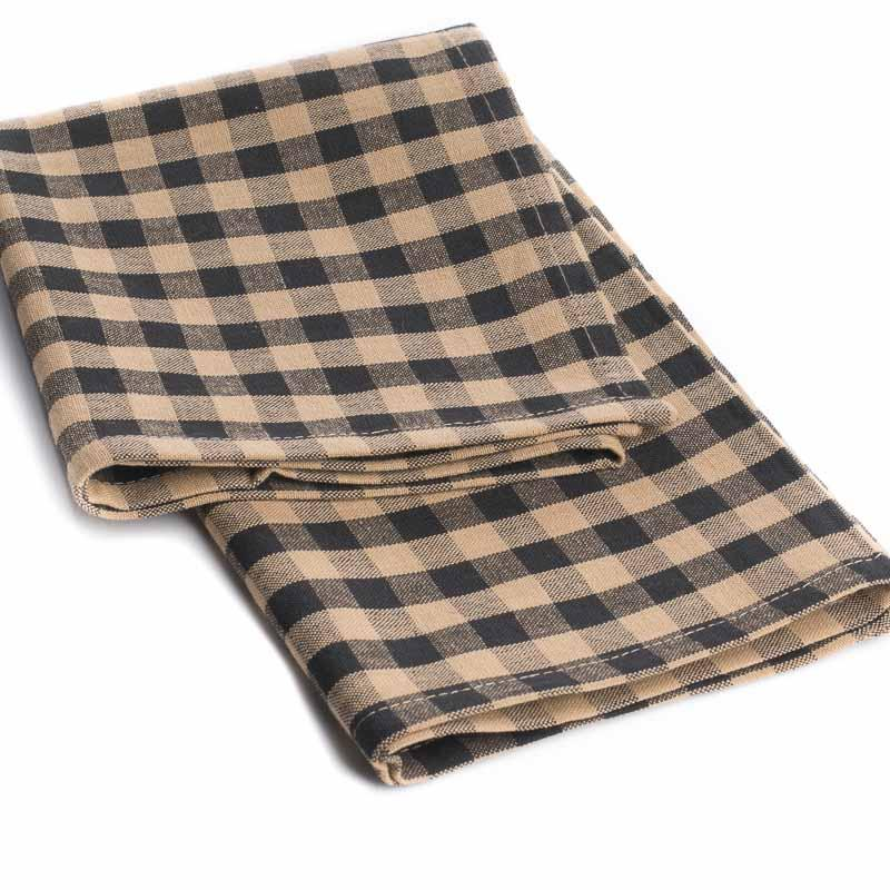and black gingham plaid dish towel kitchen