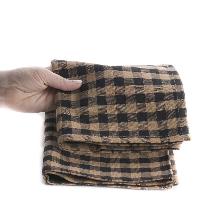 Natural And Black Gingham Plaid Dish Towel