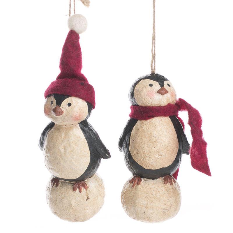 Primitive Paper Clay Penguin Ornament - Christmas Ornaments ...
