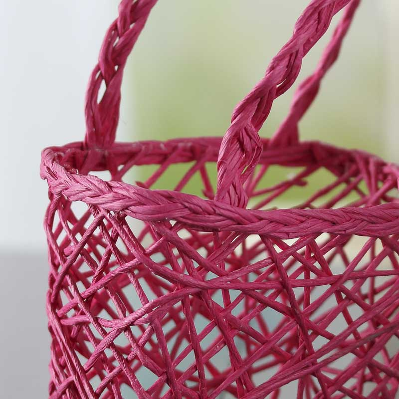 Hot Pink Paper Twist Basket Gift Packaging Party