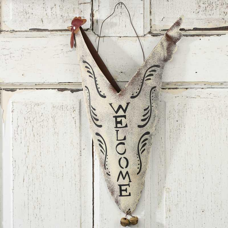 Primitive Tin Chicken Welcome Wall Pocket Wall Art