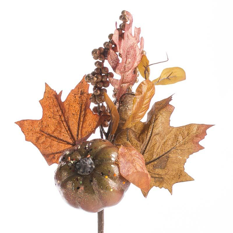 Glittered fall artificial leaf and pumpkin spray picks for Pumpkin stems for crafts