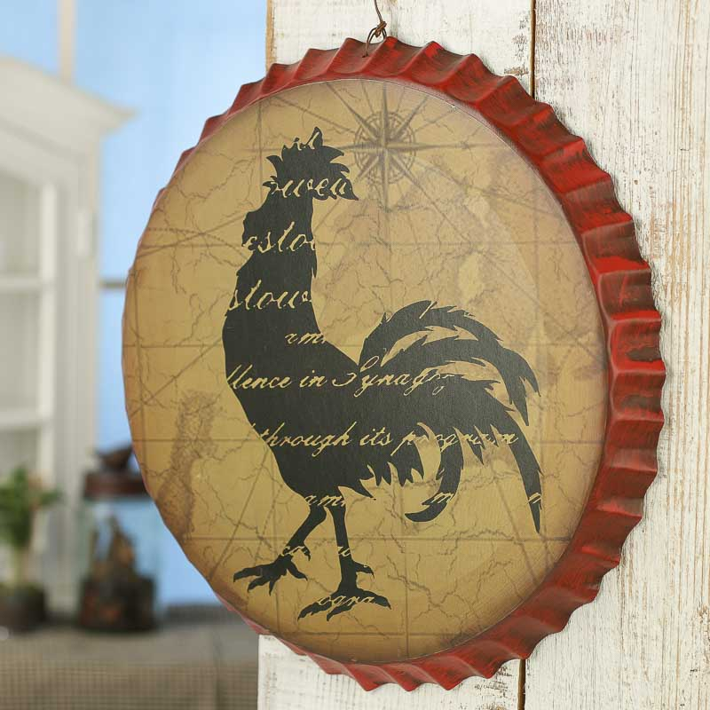 Rustic Rooster Wall Decor : Rustic rooster wall tin on sale home decor
