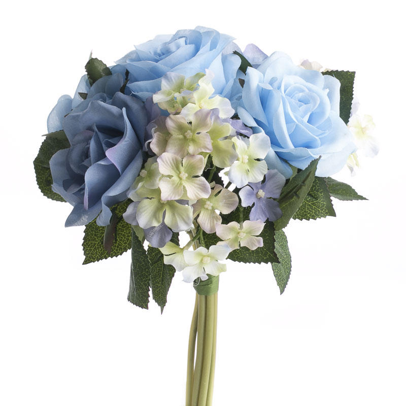 Blue artificial rose and hydrangea bouquet wedding