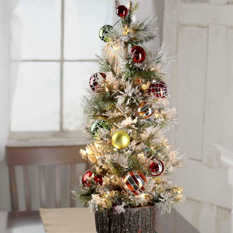 Click Here For A Larger View - Decorated Pre-Lit Tabletop Artificial Christmas Tree - Trees And