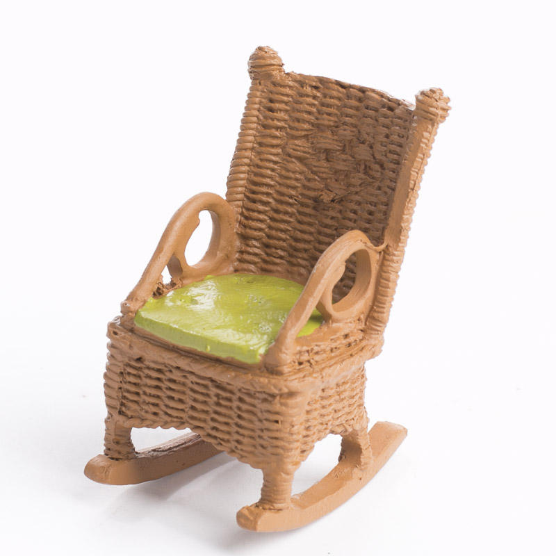 Miniature Outdoor Wicker Rocking Chair - Living Room Miniatures ...