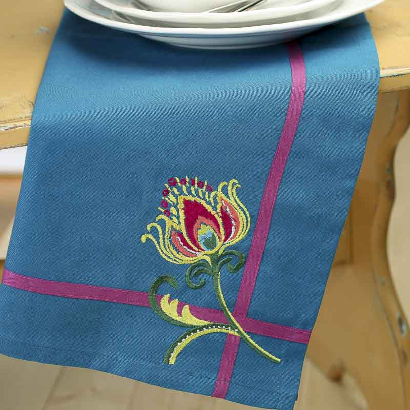 Peacock Splendor Embroidered Cloth Dish Towel