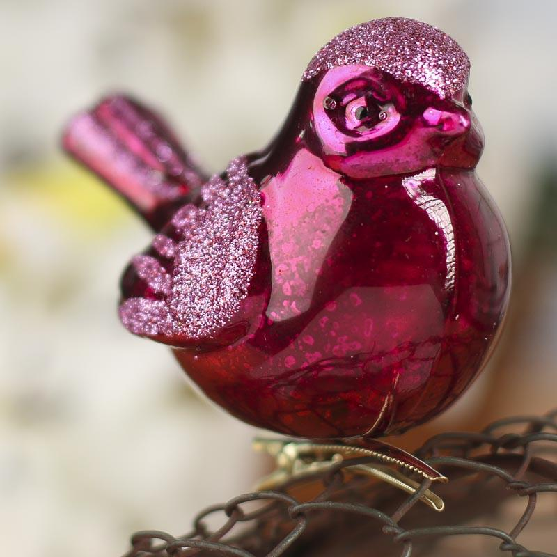 fuchsia mercury glass cardinal ornament - christmas ornaments - christmas and winter