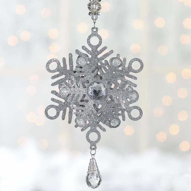 Silver glitter dimensional snowflake ornament christmas