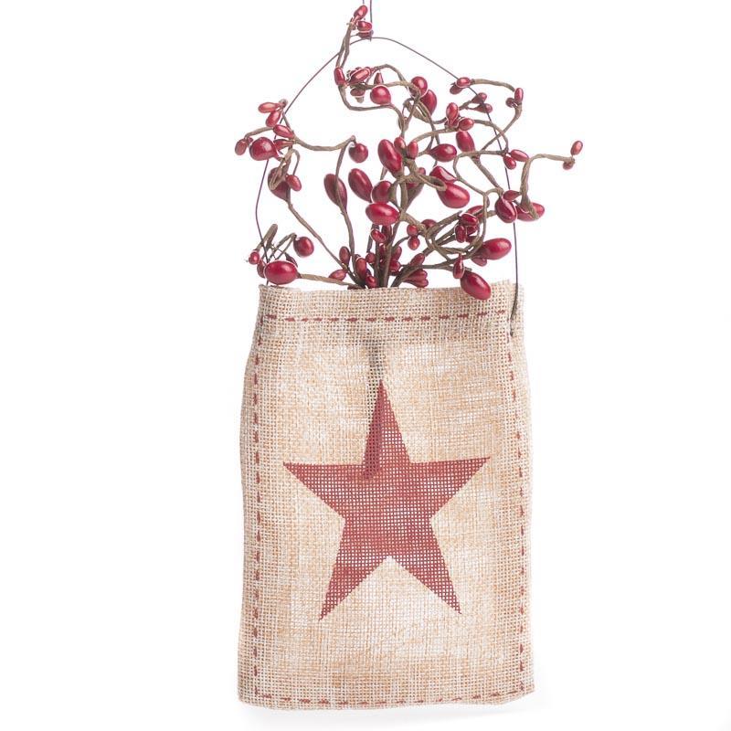 Primitive pip berry burlap bag wall art primitive decor for Decorative burlap bags