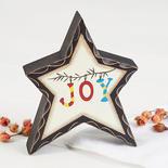 "Primitive ""Joy"" Chunky Wood Star"