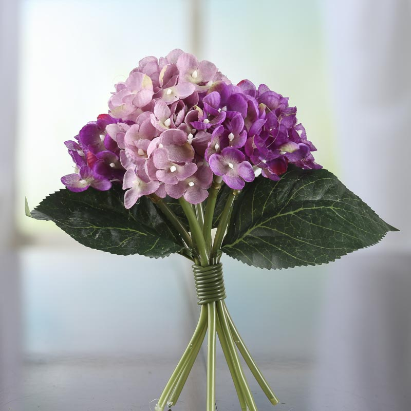 Lavender and purple artificial hydrangea bouquet bushes