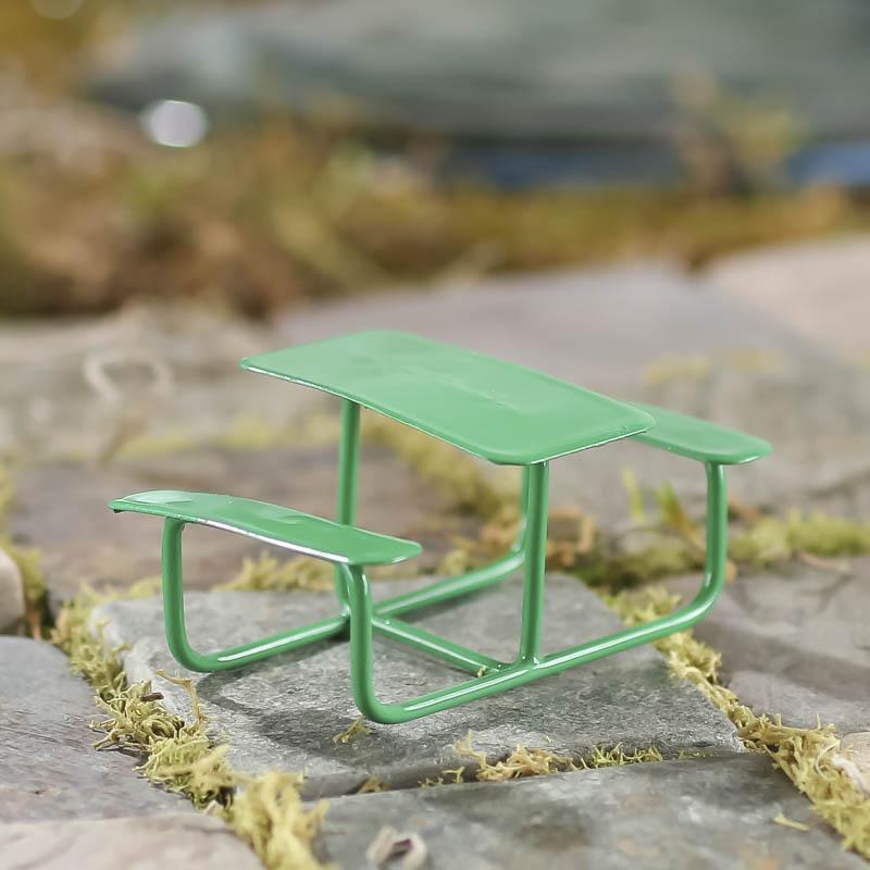 Miniature Green Picnic Bench Fairy Garden Miniatures Dollhouse - Picnic table supplies