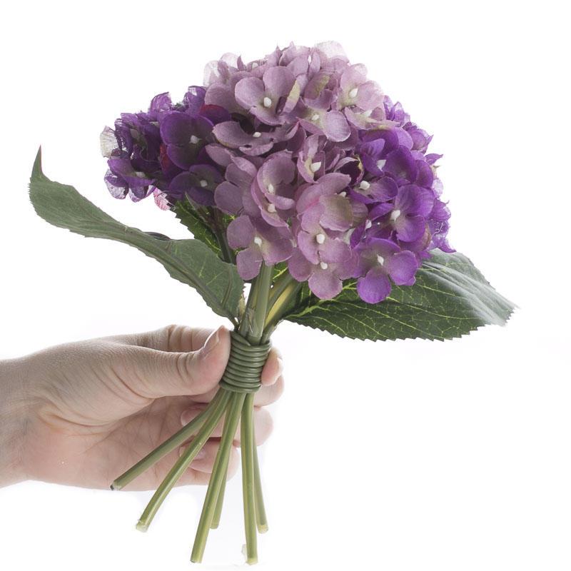 Lavender and purple artificial hydrangea bouquet bushes