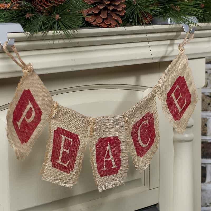 christmas burlap peace garland - Burlap Christmas Garland