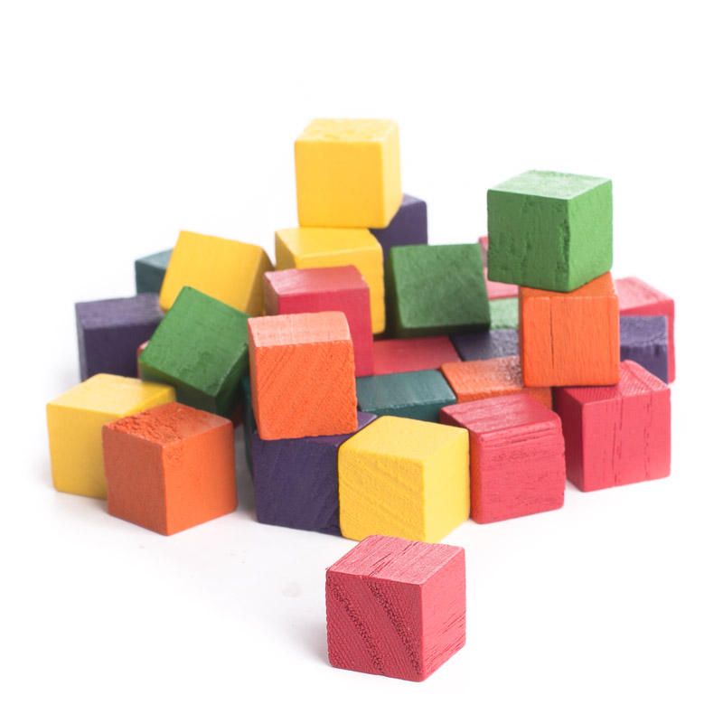 Small Cubes And Limited P: Multicolored Wood Cube Blocks