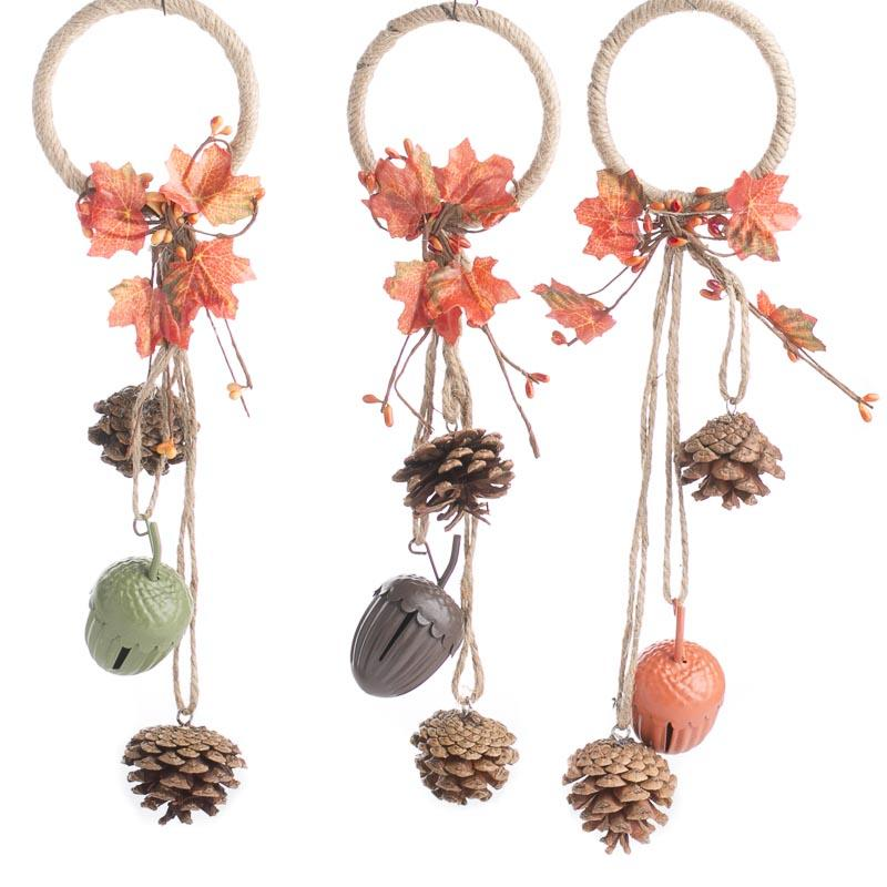 Rustic Pinecone And Acorn Bell Autumn Door Hanger Wall