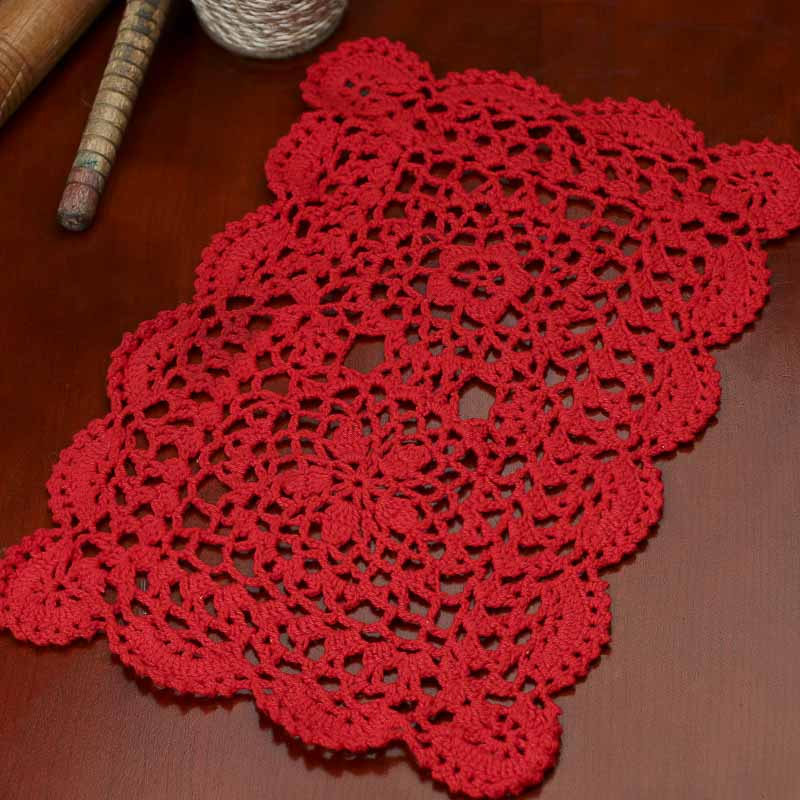 Red Rectangular Crocheted Doily - Crochet and Lace Doilies ...