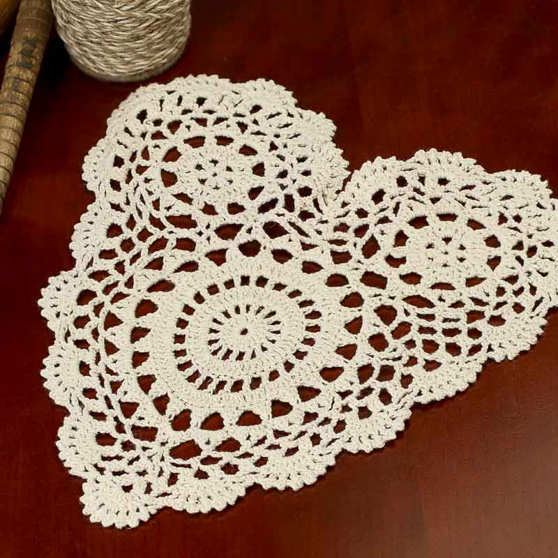 Ecru Heart Crocheted Doily - Crochet and Lace Doilies - Home Decor