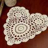Ecru Heart Crocheted Doily