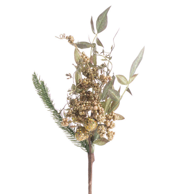 Holiday Artificial Pine And Fruit Spray Picks And Stems