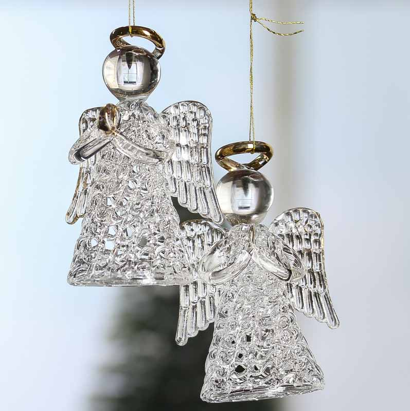 Clear glass angel ornaments christmas