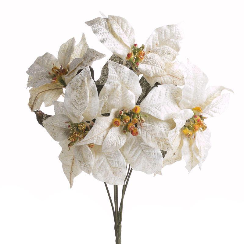 Ivory Velvet Artificial Poinsettia Bush
