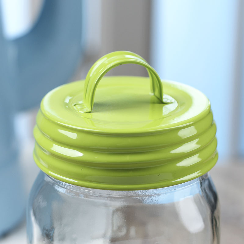 green enamelware mason jar lid with handle jar lids basic craft supplies craft supplies. Black Bedroom Furniture Sets. Home Design Ideas