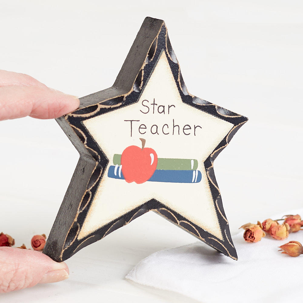 Quot Star Teacher Quot Chunky Wood Star Signs Amp Ornaments Home