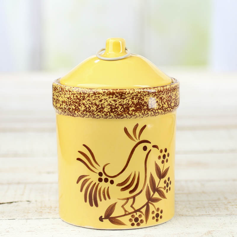 French Country Yellow Stoneware Container