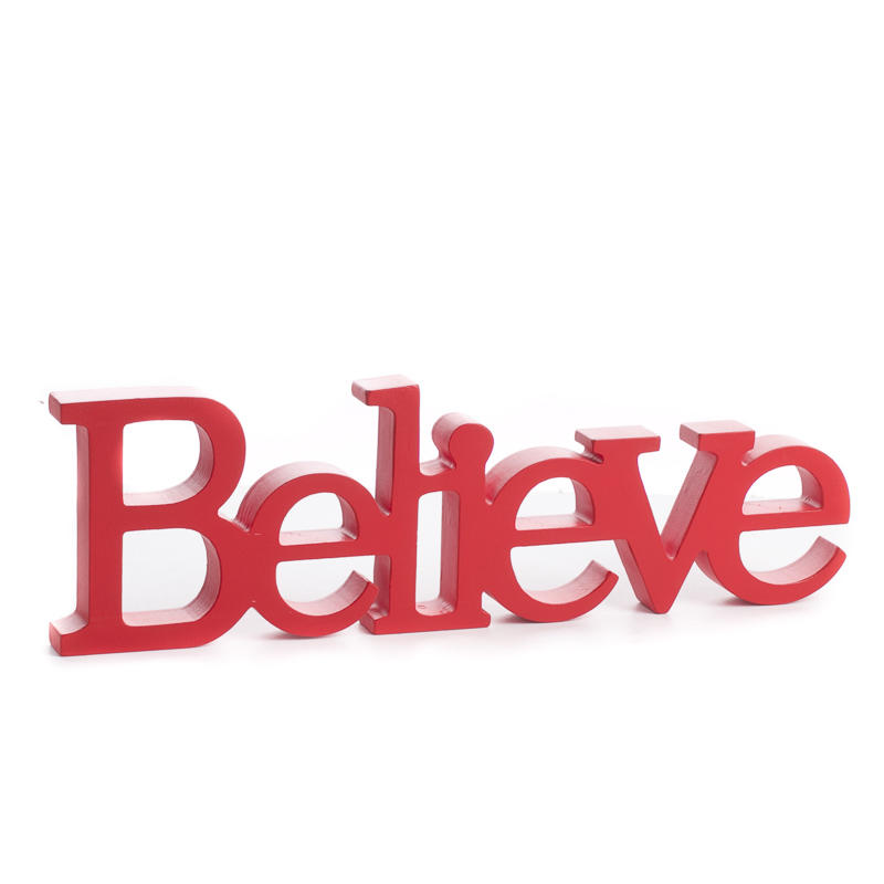 """Red """"Believe"""" Standing Word Sign - Home Decor - Factory ..."""