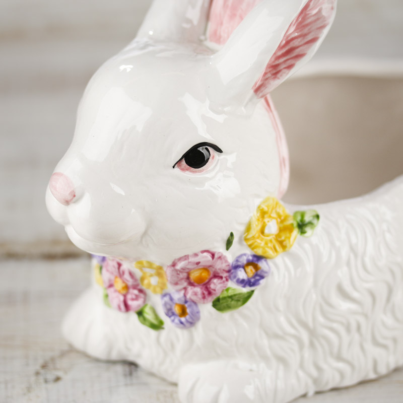 Porcelain Bunny Basket Spring And Easter Holiday Crafts