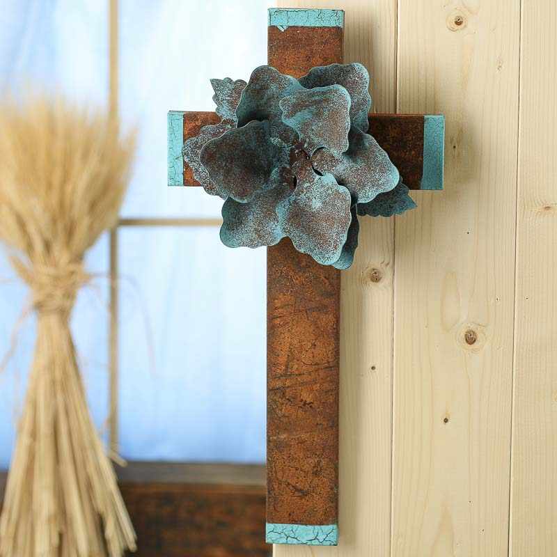 Turquoise And Rusty Tin Flower Wall Cross