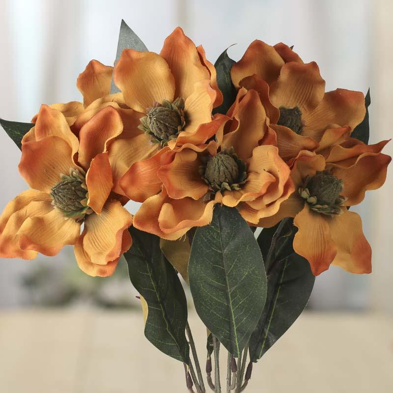 Rusty Gold Artificial Magnolia Bush Bushes Bouquets Floral
