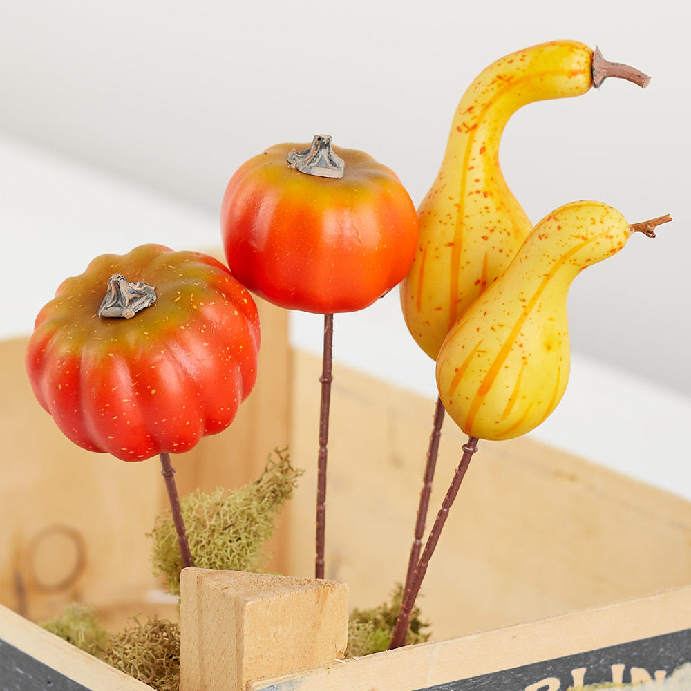 Assorted artificial pumpkin and gourd picks picks and for Pumpkin stems for crafts