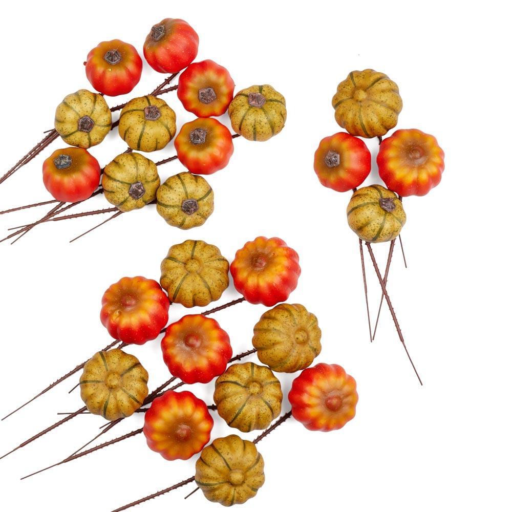 Assorted artificial pumpkin picks picks and stems for Pumpkin stems for crafts