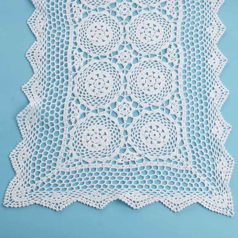 Large White Rectangular Crocheted Doily Crochet And Lace
