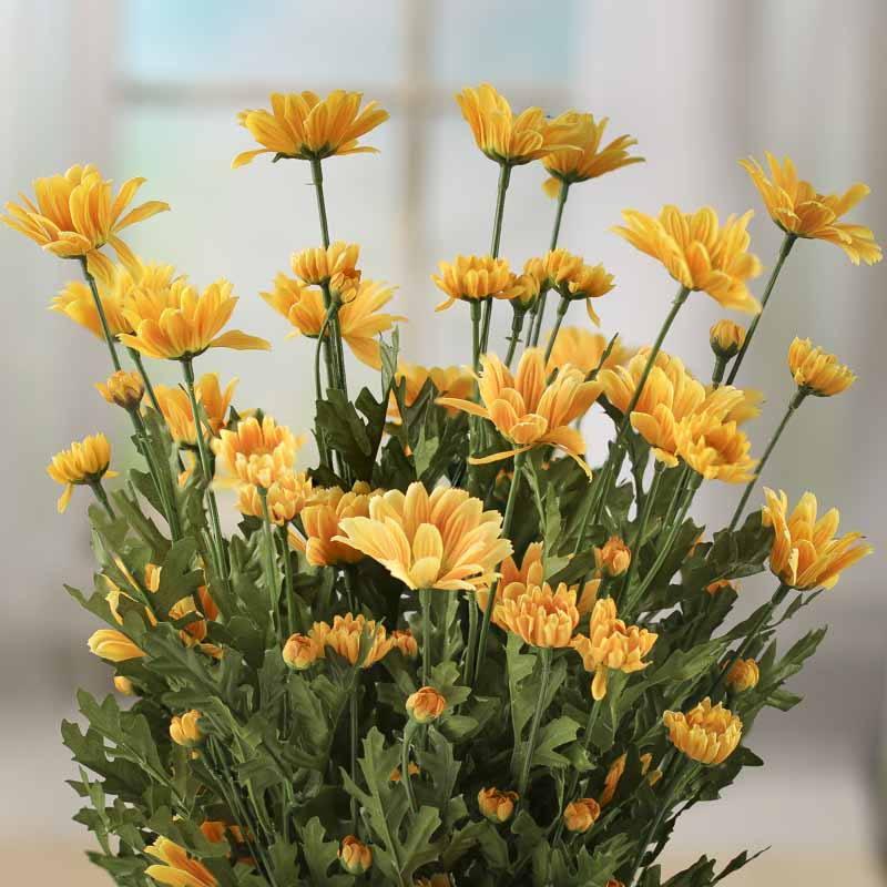 Golden Yellow Artificial Shasta Daisy Bush Bushes And