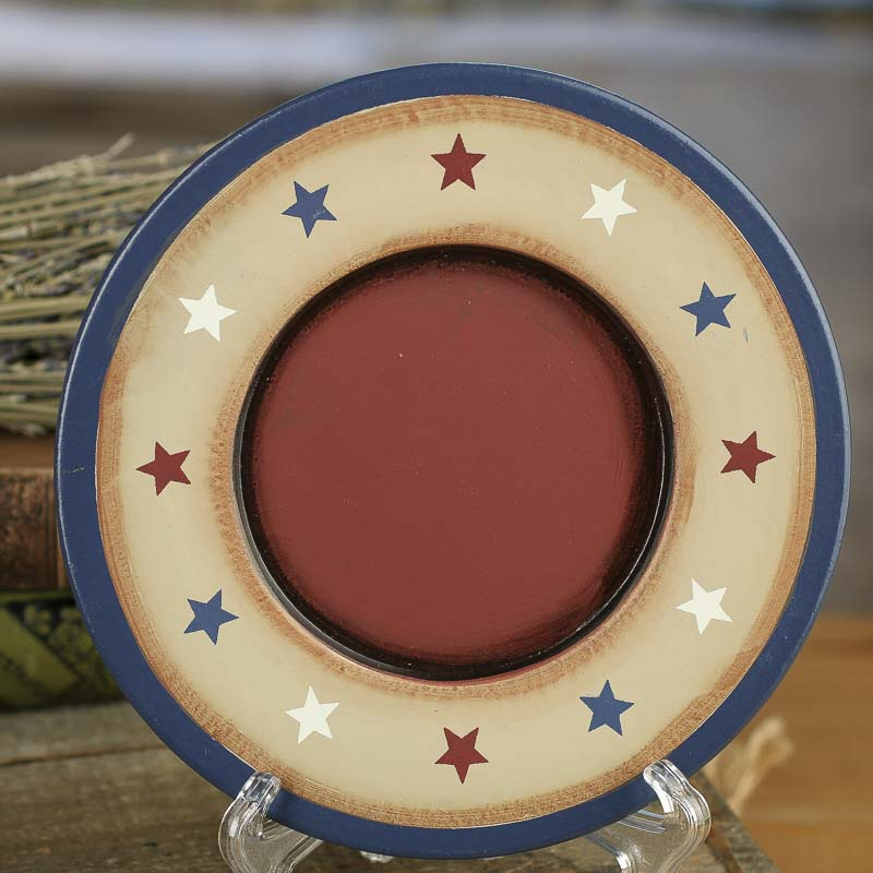 Click Here For A Larger View & Primitive Americana Star Wood Plate - Decorative Plates and Bowls ...