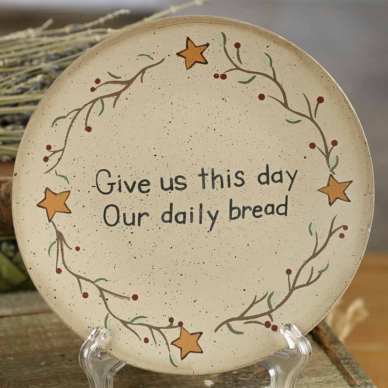 Primitive Quot Give Us This Day Quot Wood Plate Decorative