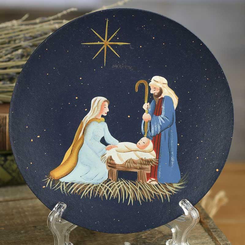 Primitive Wood Nativity Scene Plate Decorative Plates