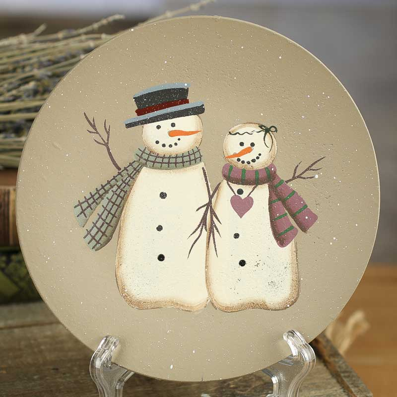 Primitive Wood Snowman Couple Plate & Decorative Plates and Bowls - Primitive Decor
