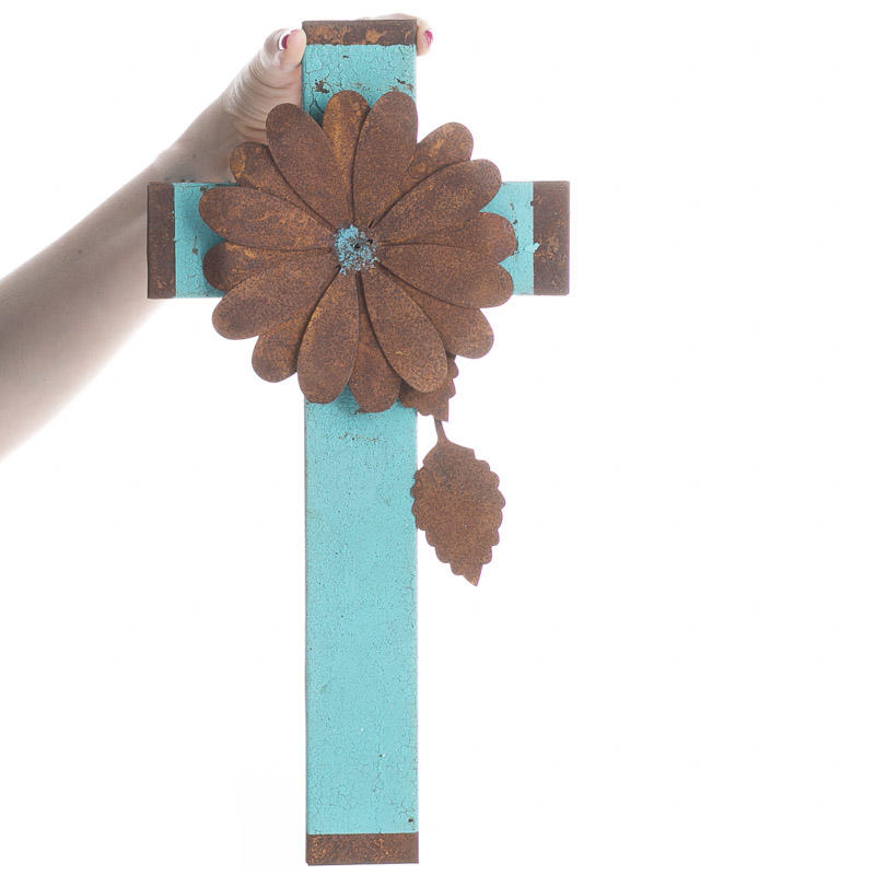 Turquoise and rusty tin flower wall cross wall art for Turquoise wall decor