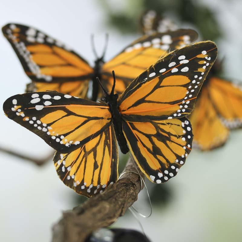Yellow Orange Artificial Monarch Butterflies Artificial