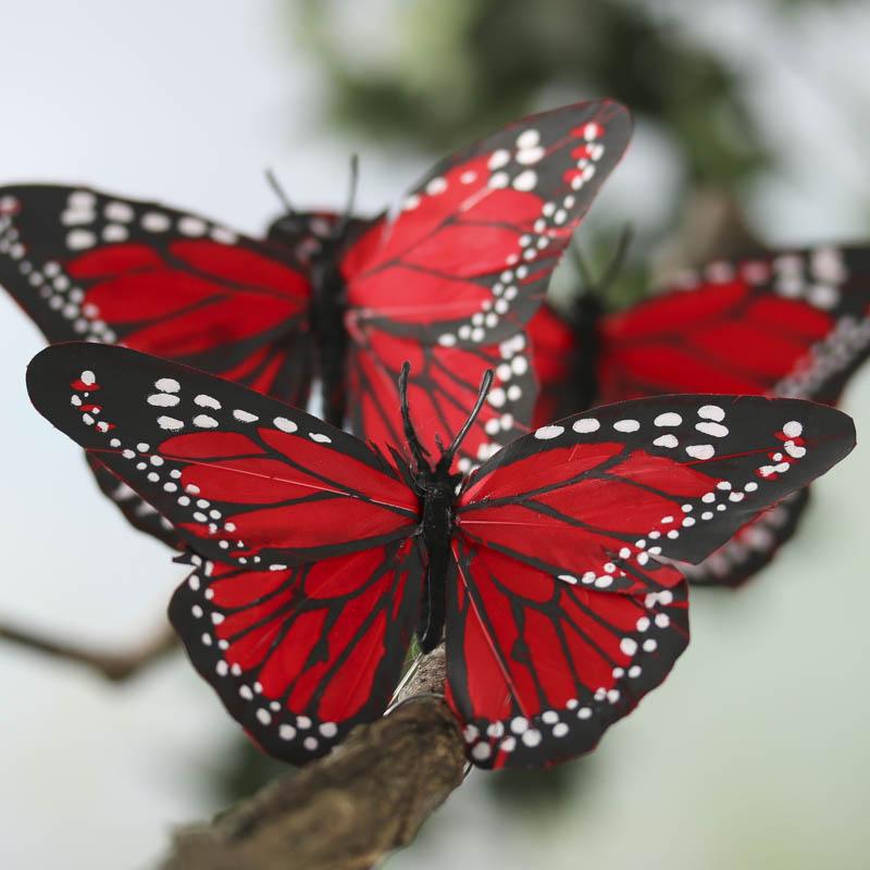 Red Artificial Monarch Butterflies - Birds & Butterflies ...