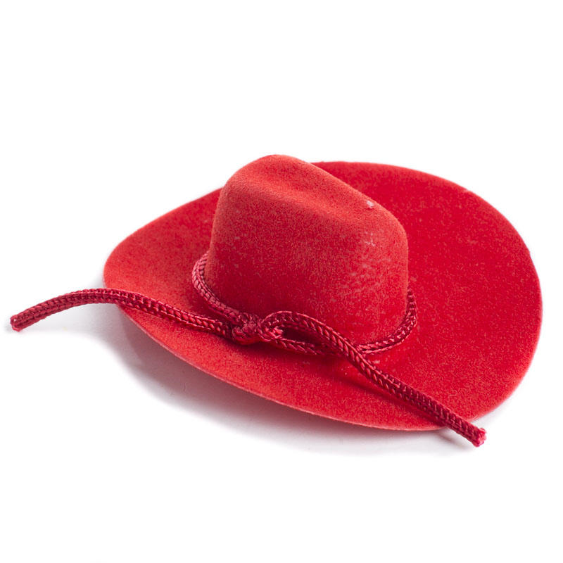 Miniature red flocked cowboy hat doll hats doll making for Tiny cowboy hats for crafts